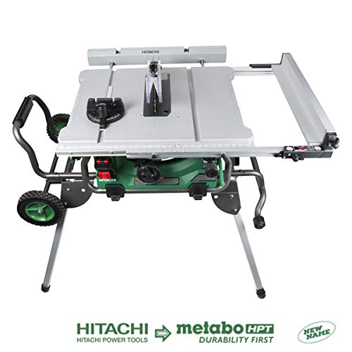 Hitachi C10RJ 10' 15-Amp Jobsite Table Saw with 35' Rip Capacity and Fold and Roll Stand