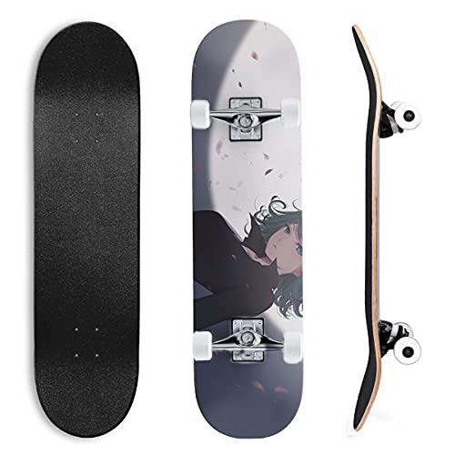 Skateboard für Anfänger EIN Schlag Mann für Anfänger, Jugendliche, Kinder, Mädchen, 7 Schichten aus Ahornholz mit ABEC-11-Kugellagern, Skateboard, Longboards Tornado