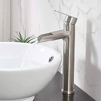 "VCCUCINE Commercial Tall Waterfall Spout Brushed Nickel Vessel Sink Faucet, Single Handle Mixer Bathroom Faucet With Two 3/8"" Hoses"