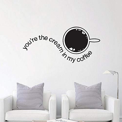 JXWH muursticker voor cafés, deuren en ramen in de keuken, crème, vinylstickers, romantisch, liefde, café
