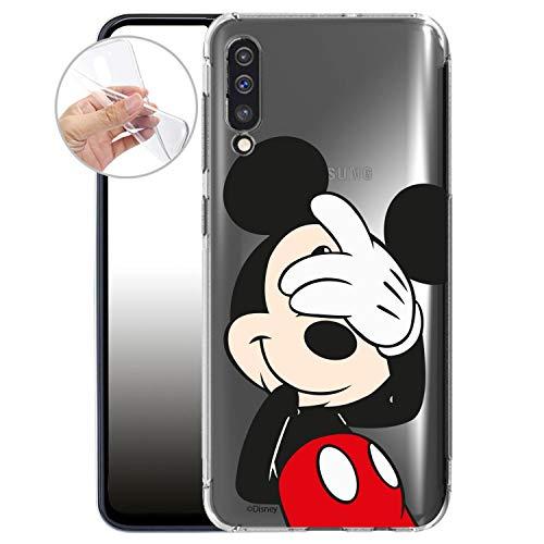 FINOO – Funda para teléfono móvil Compatible con Samsung Galaxy A50 – Borla de Silicona TPU – Transparente, Ultrafina y Ligera – Mickey...