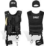 normani SWAT/Security/Police Set mit Weste im Einsatzstyle, Cap, Handschellen Farbe SWAT Größe L/Rechts