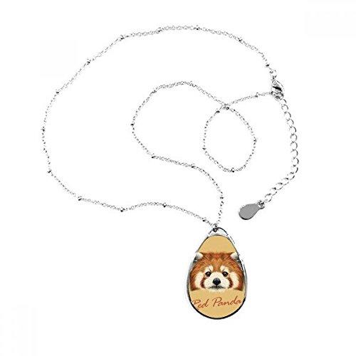 DIYthinker Halskette mit Anhänger in Tropfenform, Design Panda, Braun/Rot