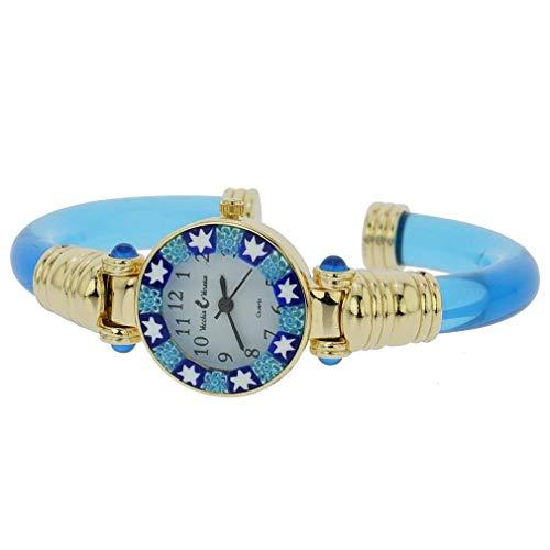 GlassOfVenice - Orologio Millefiori in vetro di Murano, colore: Blu