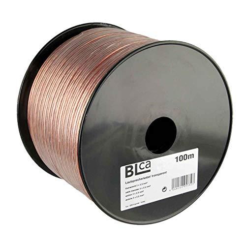 BLCA 100m 2x2,5mm² Lautsprecherkabel CCA I Boxenkabel isoliert transparent mit Polaritätskennzeichnung I LS-Kabel als Meterware für Stereoanlage etc.