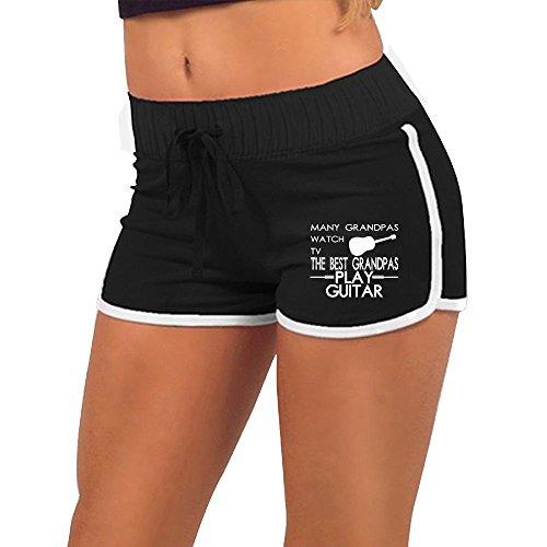Many Grandpas Watch TV Best Grandpas Play Guitar Women's Running Workout Shorts Athletic Elastic Waist Hot Pants