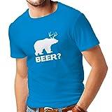 lepni.me Camisetas Hombre El Oso - Regalo para el Amante de la Cerveza, Diseño Paródico Divertido (Medium Azul Blanco)