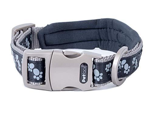Petface Signature Padded Dog Collar, Medium, Black Paws