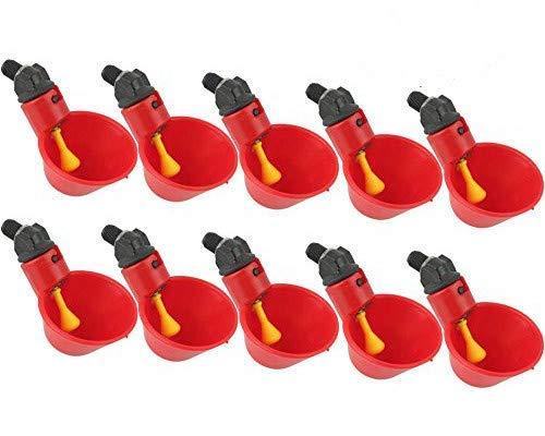 鶏 自動給水器 ウォーターボウル 鳩 鳥用 フィーダー 水飲み器 家禽養殖用給水器 プラスチック製 簡単設置 (赤 10個入り)