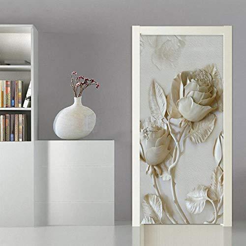 BXZGDJY 3D deursticker, deurfolie, reliëf, bloem, stok 90 x 200 cm, deurbehang, zelfklevend deurposter, zelfklevende 3D-deur-raam-behang-aftrekplaatjes, verwijderbare deur decoratieve afplakfolie voor Di