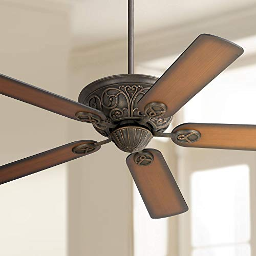 """52"""" Casa Contessa Vintage Ceiling Fan Bronze and Copper Shaded Teak Wood for Living Room Kitchen Bedroom Dining - Casa Vieja"""
