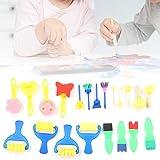 Zhat Juego de cepillos de Esponja, Conveniente Juego de Pintura Suave para Bricolaje, Herramienta de Pintura de Aprendizaje temprano para Pintar Dibujos