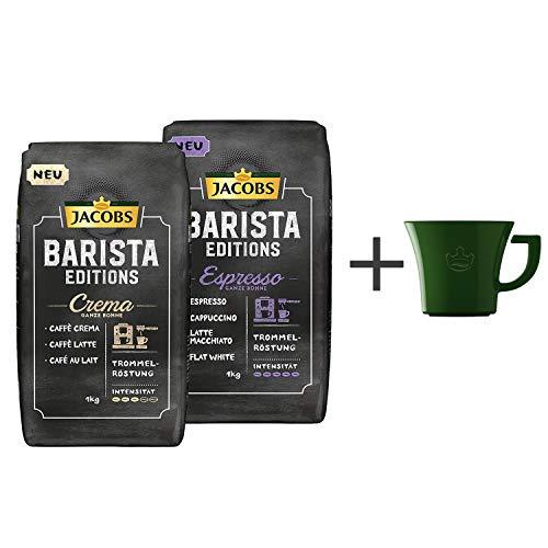Jacobs Kaffeebohnen Barista Editions Discover Vielfaltspaket, 2er Pack (2x 1kg Bohnenkaffee), Gratis geschenk: Jacobs kaffeebecher