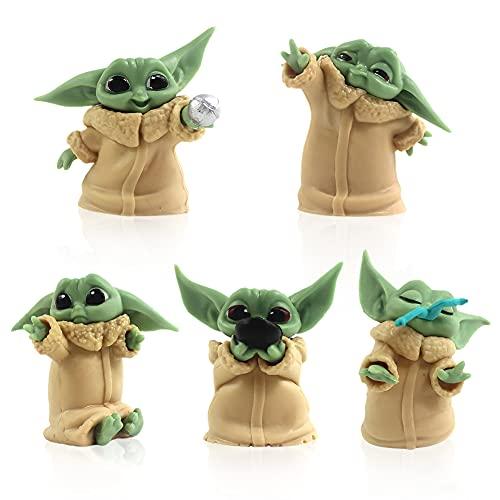 BESTZY Baby Yoda Figuren Cake Topper Star Wars Mini Figuren Set Kuchen Dekoration Figuren Baby Yoda Tortenfiguren für Kinder Geburtstag Partyzubehör 5 Stück