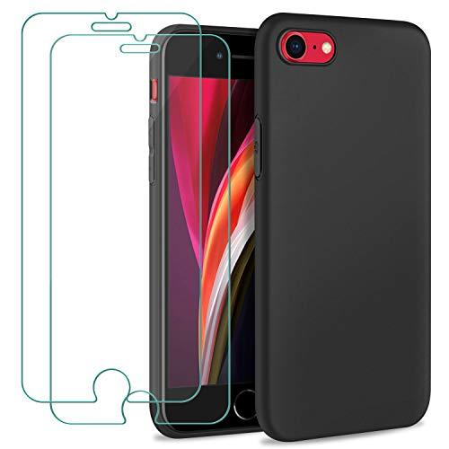 Gnews Cover per iPhone SE 2020 Custodia, Cover per iPhone 8/7 Custodia, [2 PCS] Pellicola Protettiva in Vetro Temperato + Case Morbida Silicone Sottile TPU per iPhone SE 2020/8 / 7, Nero