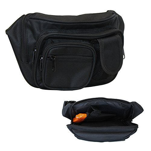 EG BAGS Concealed Carry Pistol Bag - Black Gun Concealment Fanny Pack - Fits up to 50 in Waist