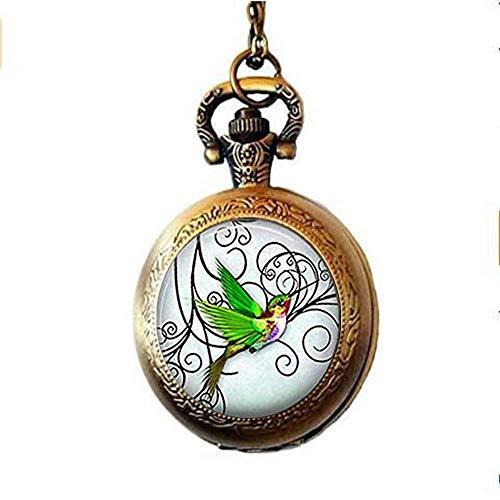 Taschenuhr, Kolibri, Schmuck, Vogel, handgefertigt, Vintage-Design, Glaskunst, Foto-Schmuck