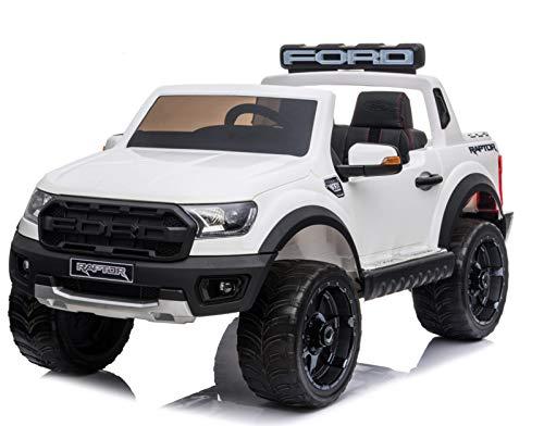 Indalchess Ford Ranger Raptor 12V Kinder Elektroauto, 2 Motoren, Weiß, RC Parental, 2 Sitzer