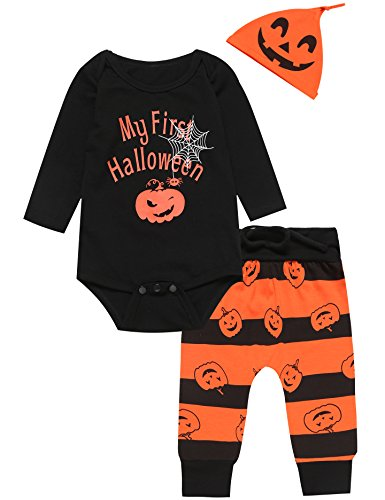 3PCS Baby Boys' Outfit Set Halloween Pumpkin Costume Long Sleeve Romper (3-6 Months)