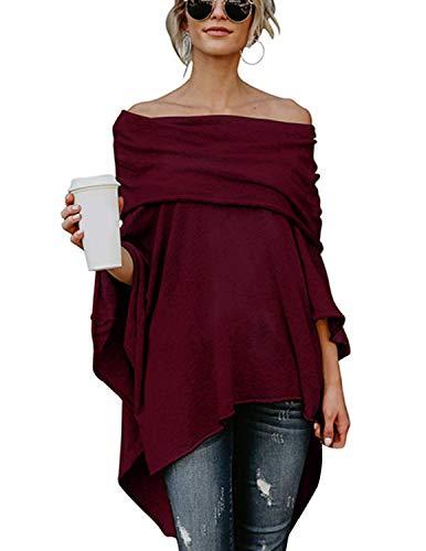 BUOYDM Mujer Camiseta Largos de Mangas Largas de Murciélago Irregular Casual Pullover Camisa Sueltas Tops Vino Tinto XL