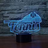3D une raquette de tennis LED Lampes Art Déco Lampe la couleur changeant lumières LED, Décoration Décoration Maison Enfants Meilleur cadeau, Lumière Touch Control 7 couleurs Change