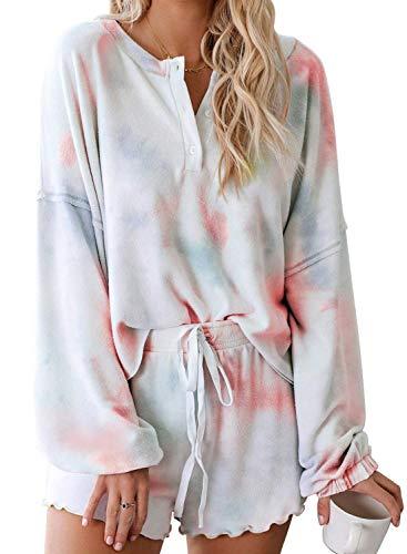 Nachtwäsche Damen Pyjama Kurz Zweiteilige Schlafanzug Sleepwear Sets Tie Dye Bedruckte Rüschen Langarm Tops und Shorts PJ Set Loungewear