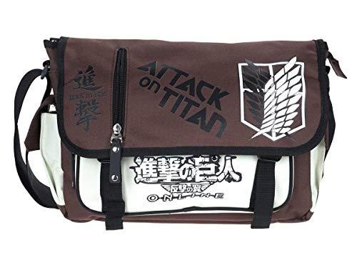 ASLNSONG Japanese Anime Shoulder Bag School Bag Messenger Bag Crossbody Pack (Attack on Titan)