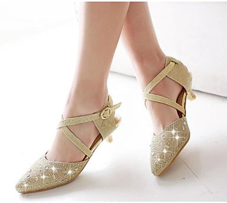LvYuan-ggx Damen High Heels Komfort PU Sommer Normal Komfort Kitten Heel-Absatz Gold Silber 2,5 - 4,5 cm
