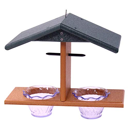 Amish-Made Oriole Bird Feeder, Double-Cup Jelly Oriole Feeder with Pegs for Orange Halves (Turf Green/Cedar)