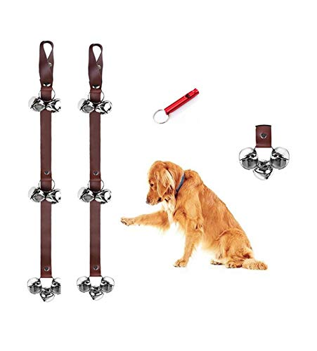 CWXZSTM Dog doorbell, Dog doorbell for Potty Training, wear 7 Large Metal Bells, Adjustable Length, pet Bell for All Door Handles, Suitable for Small and Medium Dog Training (Brown)