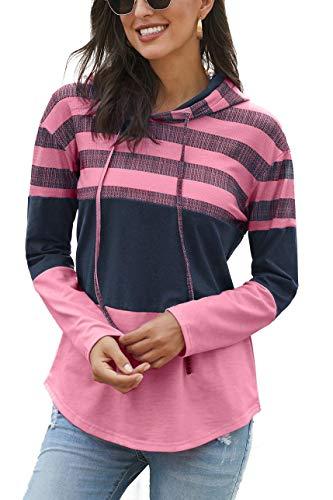SMENG Jersey de manga larga para mujer, diseño de rayas Rosa L