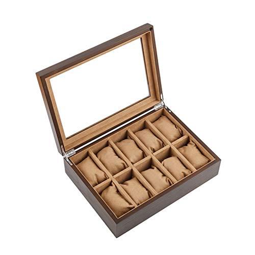 GYMEIJYG Caja De Almacenamiento De Reloj 10 Ranuras Caja De Reloj De Madera Caja De Almacenamiento De Exhibición De Joyería Caja De Reloj con Tapa De Cristal para Guardar Relojes