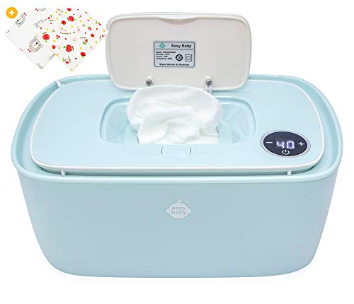 EZ Baby Trendy Wipes Warmer Dispenser Holder - Portable, Plugin, Comfortable Diaper Changing Experience - Infant, Newborn, Baby- (Green)