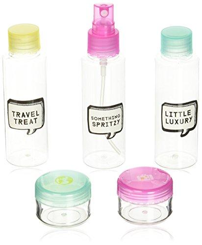 NPW Bagage à main liquides – Plastique Transparent bouteilles de voyage kit Trousse de toilette, 16 cm, Rose