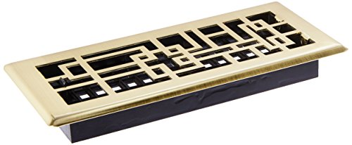 Abstract Floor Register, Satin Brass Finish, 4-Inch by 10-Inch - Decor Grates ABH410-SB