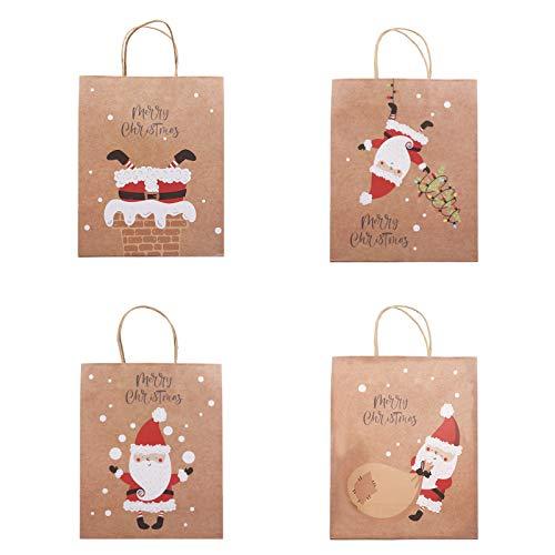 かわいいサンタクロースギフトバッグ クラフト クリスマスラッピング袋 クリスマス紙袋 手提げ袋 プレゼント用 リサイクル可能 (4点セット)