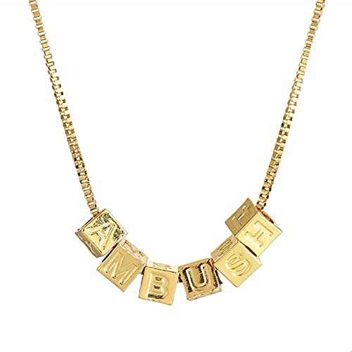 Letras del alfabeto de acero inoxidable Cubos Collar para hombres Oro / Acero Color de moda Accesorios Cadenas