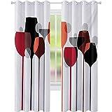 Tende per camera da letto, stilizzato astratto bicchieri di vino sagome con puntini alcolici drink moderno artistico, W52 x L84 Block Out Tende per soggiorno, rosso grigio nero