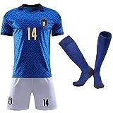 Cytech 2021 Italia Maglia da Calcio, Bambino Adulto Maschio Italia Squadra Nazionale Calcio Maglia, T-Shirt Pantaloncini Calze (14 Chiesa, M/(170-175cm))