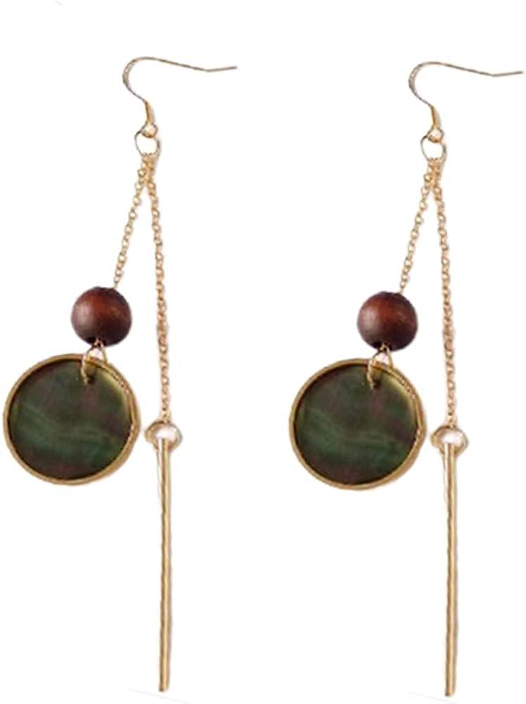 Geometric Simple Triangle Long Bar Stick Chain Tassel Dangle Earrings Women's Asymmetrical Pearl Shell Round Disc Drop Earrings Fashion