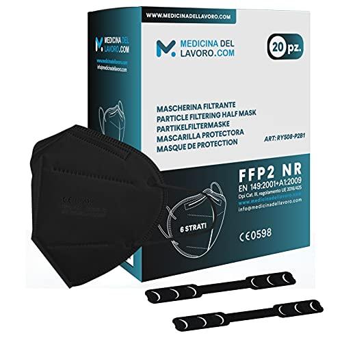 20 FFP2 Maske Bunt Schwarz CE Zertifiziert, Medizinische Mask mit 6 Lagige Masken ohne Ventil, Staub- und Partikelschutzmaske, Atemschutzmaske mit Hoher BFE-Filtereffizienz≥95 - 20 Stück