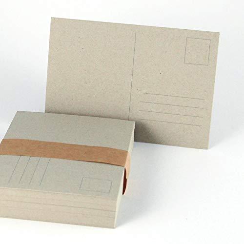 50 sandgraue Recycling-Postkarten DIN A6 mit Postkartenvordruck (Briefmarke und Adressfeld) auf stabilem Karton: Graupappe ca. 350 g/qm
