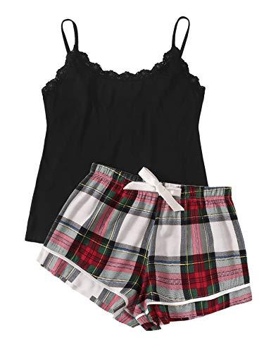 SweatyRocks Women's Sleepwear Set Plaid Print Cami Top and Elastic Waist Short Pajama Set Multicolor Medium