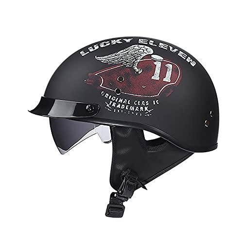 Medio casco de motocicleta retro Casco de motocicleta de cara abierta con visera solar, adecuado para hombres y mujeres jóvenes, motocicleta cruiser scooter, certificación ECE D,L