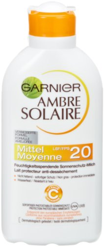 Garnier Ambre Solaire Sonnencreme/Feuchtigkeitsspendende Sonnenschutz-Milch LSF 20 (1 x 200 ml)