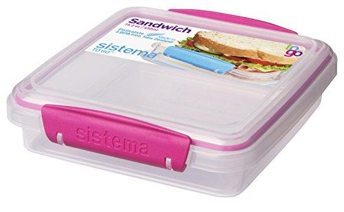 Sistema To Go - Caja para sándwich (450 ml), color transparente y rosa