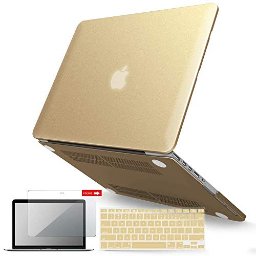 IBENZER MacBook Pro 13 Inch Case 2015 2014 2013 end 2012 A1502 A1425, Hard Shell Case with Keyboard Cover & Screen Protector for Old Version Apple Mac Pro Retina 13, Gold, R13GD+2B