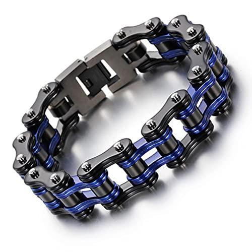 VEUL Pulsera de acero Titanium azul negro de la joyería de la manera, joyería formada cadena de la