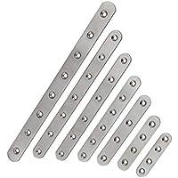 Conector plano de acero inoxidable, 7 tamaños, placa perforada, conector de madera, abrazaderas, chapa perforada, conector, ángulo de metal