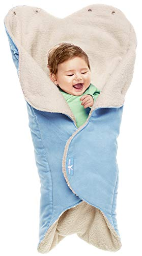 """Wallaboo Baby Blanket Nore, Superb Quality blanket, For Pram, Moses Basket, Crib and Car Seat, Newborn and up, 85 x 85cm, 34"""" x 34"""", Durable Faux Suede with Warm and Soft Shearling Inner, Color: Blue"""